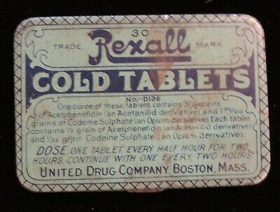 Vintage RExall Cold Tablets United Drug Company Tin