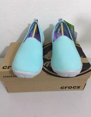 e37a8485c21f Crocs Ladies Duet Busy Day Skimmer Sporty Croslite Shoe Ice Blue pearl White