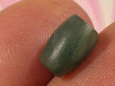 ANCIENT PYU RARE BANDED GREEN CHALCEDONY TUBE SHAPE BEAD 10 by 7.5 mm