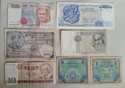 Worldwide Europe Lot 7 Different Banknotes Notes Belgium Italy Germany France Gr