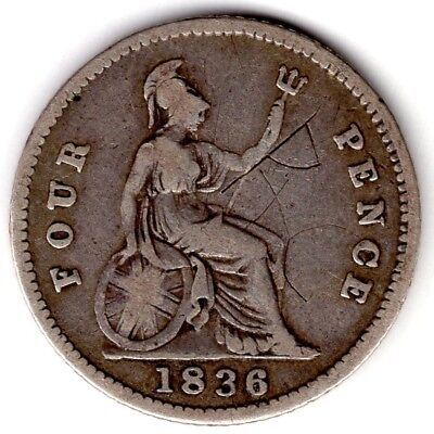1836 Great Britain Four 4 Pence William Iiii Iv Sterling Silver World Coin