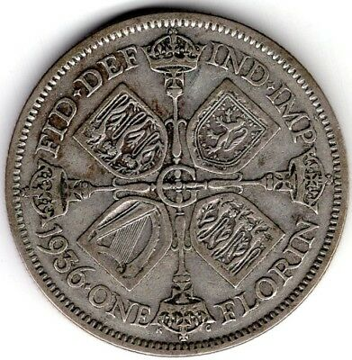 1936 Great Britain One 1 Florin George V Silver World Coin