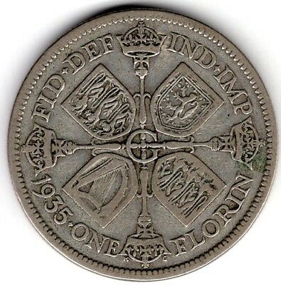 1935 Great Britain One 1 Florin George V Silver World Coin