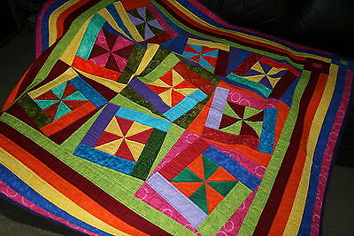 """Hand Made Quilt """"FANDANGO"""" Design by Quilt-Addicts 55"""" square"""