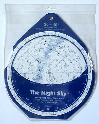 The Night Sky: The Original 2-Sided Planisphere - 30-40 degrees - 1992