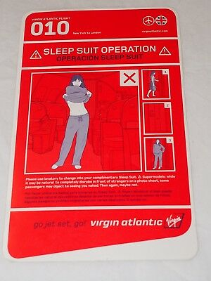 Vintage VIRGIN ATLANTIC 010 Upper Class SLEEP SUIT OPERATION Instruction Card