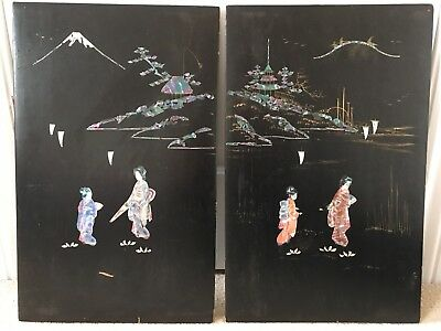 PAIR Antique Vintage Japanese Lacquer & Abalone Inlay Panels Wall Hanging Doors?