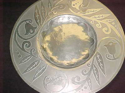 "12"" Signed ""Rab"" American Arts Crafts Acid-Etched Pewter Plate Charger Stylized"