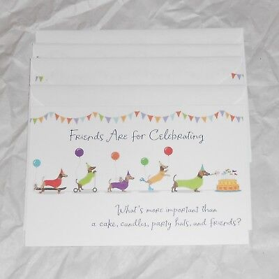 Set of 4~ DACHSHUND 💥 WIENER DOGS Party Parade Birthday Cards 💥 FRIENDS New