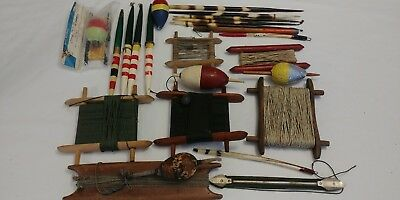 Huge Lot Of Antique Vintage Fishing Lures Tackel Wood Bobbers Floats Hand Lines+