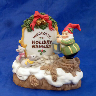 Fitz & Floyd WELCOME TO HOLIDAY HAMLET Christmas 2 SIDED SIGN~LIGHTS UP~ELF MICE