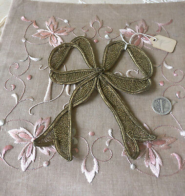 Antique French Gold Metallic Millinery Large Bow Dress Trim New Old Stock 1920s