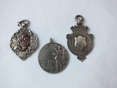 3 Solid Sterling Silver Watch Fob Medallions: English Hallmarks/ 23 g