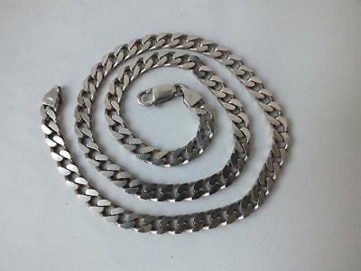 Solid Sterling Silver Flat Curb Link Chain/ L 50 cm/ 41 g