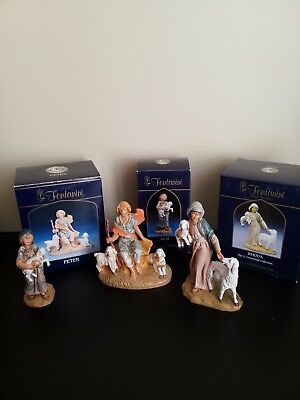 "L9t of 3 FONTANINI SHEPHERDS 5"" NATIVITY  #54049 Peter, 57521 Silas, 54009 Rhoda"