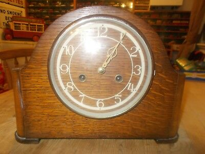 Vintage Smiths Enfield Wooden Mantel Clock Working Order