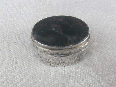 Antique Sterling Silver Moss Rose Agate Pill Box EX!