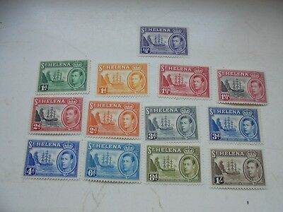 St Helena 13 stamps KGVI 1/2d-1/- with different colours LMMtoMM perf 12.5