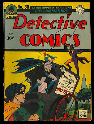 Detective Comics #80 Two-Face Cover/Story Original Owner Batman DC 1943 GD-VG