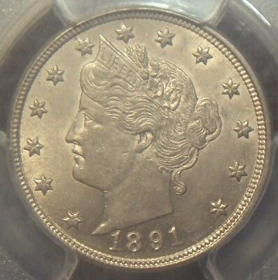 1891 Liberty V Nickel, Awesome Detail,  Pcgs Graded Au58