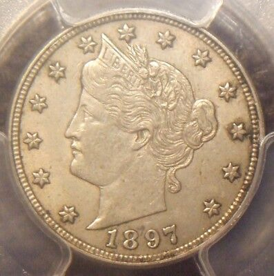 1897 Liberty V Nickel, Awesome Detail,  Pcgs Graded Au55