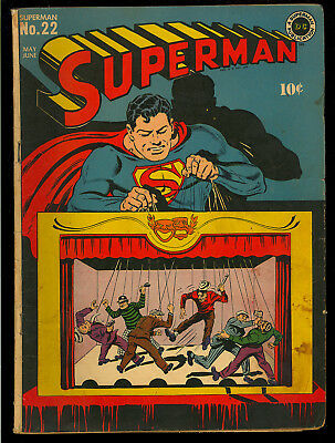 Superman #22 Nice Original Owner Unrestored Golden Age DC Comic 1943 VG