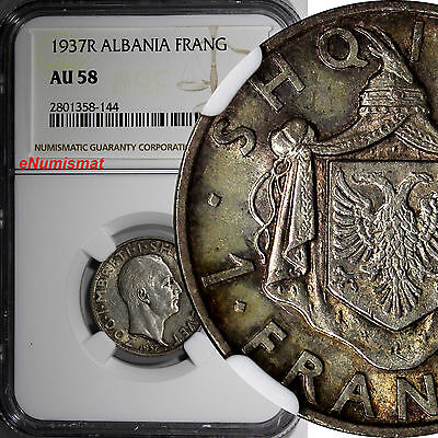 Albania Zog I Silver 1937 R 1 Frang Ar NGC AU58 Toned Better Date KM# 16