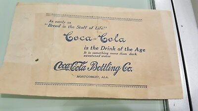 1914 Receipt Coca Cola Bottling ,Montgomery,Alabama. Bread Is the Staff of Life