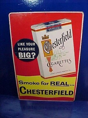 Orig 1950s CHESTERFIELD CIGARETTES Tin Litho COUNTRY STORE Advertising SIGN