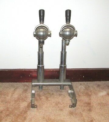 Antique Two Head Soda Fountain Parlor Goose Neck Dispenser Tap Beer Chrome