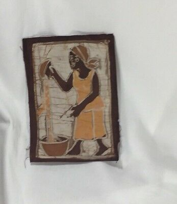 Brown Orange and White Black Woman with Water Bowl Cloth Batik – Excellent