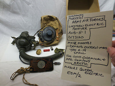 Lot  Army Air Forces Pilot Reciever Oxygen Mask Mirror  Wwii,ww1,aviation  Gear