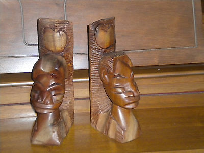Vintage Wooden Decorative BOOK ENDS, Figure Heads, Hand Carved in Haiti