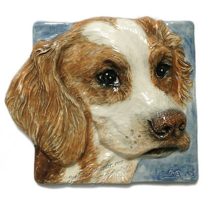 Brittany Spaniel Ceramic dog portrait 3d tile handmade sculpture Alexander Art