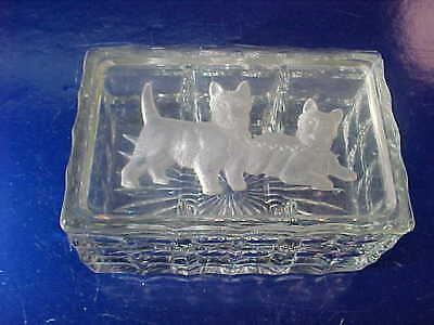 Orig 1930s ART DECO Era GLASS CIGARETTE Coffee Table BOX w Etched SCOTTIE DOGS