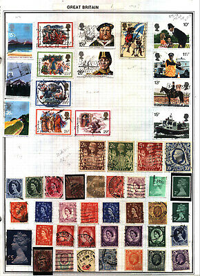 GREAT BRITAIN Lot of 85 Stamps Collection on Harris Album Pages No Reserve