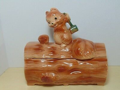 1960's Brush Pottery Squirrel w/Hammer on Log Cookie Jar
