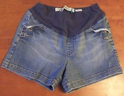 Womens Motherhood Maternity Jean Shorts With Elastic Panel Large