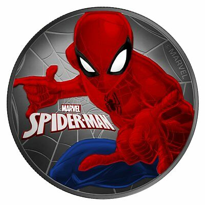 2017 1 Oz Ounce Silver Spiderman Coin .9999 Colorized Ruthenium Coa Tuvalu