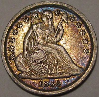 1838 Liberty Seated Dime F-106, Top 100 Variety, Shattered Obverse Die, Toned XF