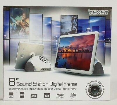 "TEXET 8"" HD Digital Photo Frame 2.1 Channel Speaker HQ Audio Player Brand New"