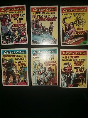 1961 Topps Crazy Cards Lot X6