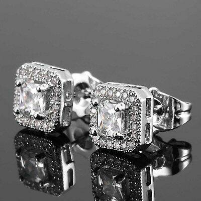 18K White Gold ICED OUT AAA Lab Diamond Micropave Square Stud Hip Hop Earrings