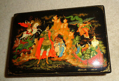 Vintage Late Century Soviet Russian Lacquer Box  Artist Signed