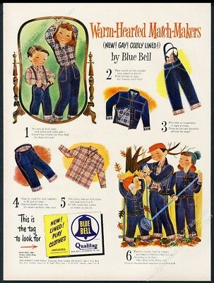 1952 Mary Blair fall leaves kids art Blue Bell jeans vintage print ad
