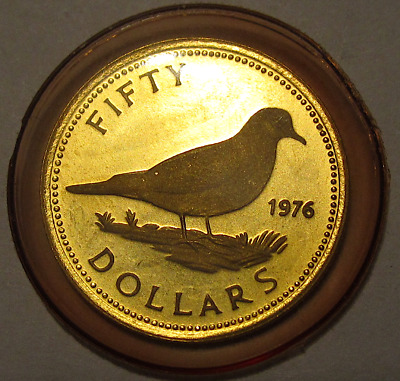 1976 Commonwealth of Bahamas $50 Tobacco Dove Bird 22K Gold Proof Coin w/ Box