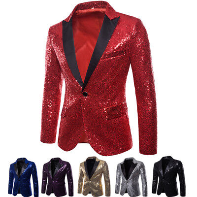 US Mens Blazer Sequin Stage Performer Formal Host Suit Bridegroom Tuxedos  Suits