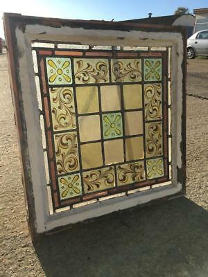 Hand Painted Victorian Leaded Stained Glass Window Industrial salvage Vintage 2