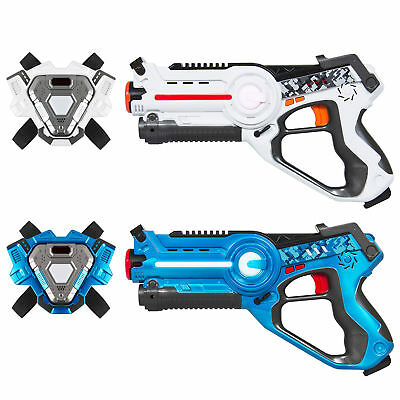 BCP Set of 2 Infrared Laser Tag Blasters w/ Vests - Blue/White