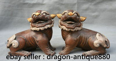 "5"" Old Chinese Purple Bronze Gild Foo Fu Dog Guardion Door Lion Ball Son Statue"